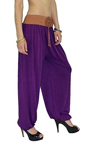 Pantalon Sarouel pour Femme Pantalon Pump Femme Pantalons Harem pour Dames Pantalon de Yoga S02 lila fonce