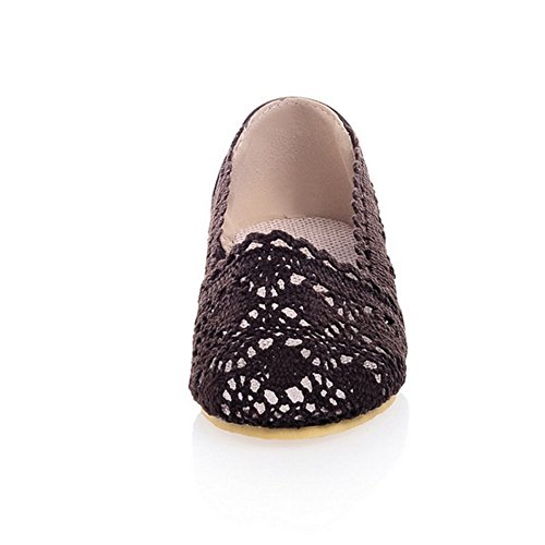 COOLCEPT Femme Elegant Bout Ferme Escarpins A Enfiler Plat Denteille 2235Dark Brown
