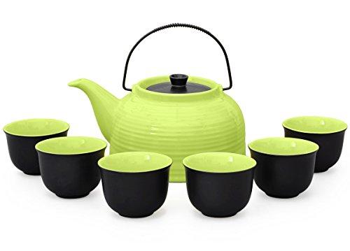 Tee-set/Tee-service Nelly groß aus hitzebeständiger Keramik, 1,5 liter Teekanne grün/schwarz mit...