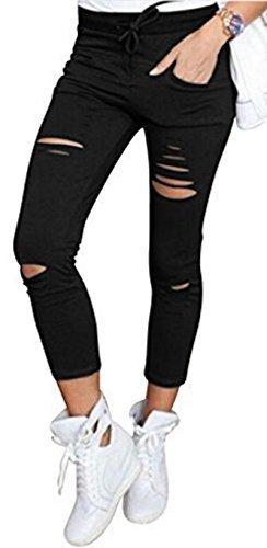 Live it style it pantaloni jeggings skinny da donna elasticizzati, strappati black small