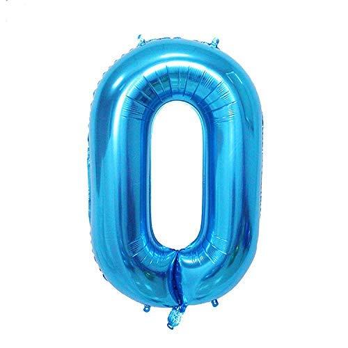 ShopVip Globos de cumpleaños - número 0 - Decoración Cumpleaños gigante de la boda 80 CM - Número gigante globo de azul - Número globo 0 año - Número 0 - 10 años 20 años 30 años 40 años 50 años