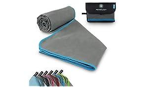 BERGBRUDER Mikrofaser Handtuch Set mit Taschen - Microfaser Handtücher in vielen Größen und Farben - Ultraleicht, kompakt & schnelltrocknend - Reisehandtuch, Sporthandtuch, Badetuch