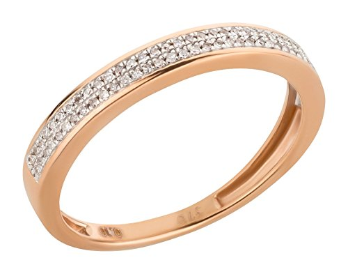 Ardeo Aurum Damenring aus 375 Gold Rosegold mit 0,1 ct Diamant Brillant Memory-Ring Eternity Verlobungsring