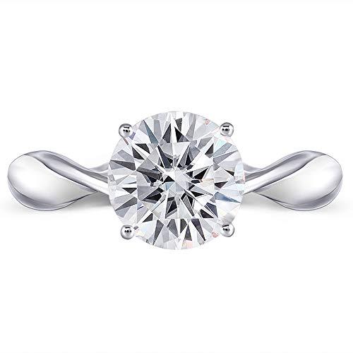 White Diamonds Tester (DovEggs  -  14k White Gold Weißgold Runder Brilliantschliff G-H Moissanit)