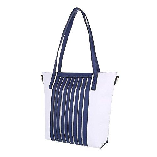 Ital-Design, Borsa a spalla donna Blu/Bianco
