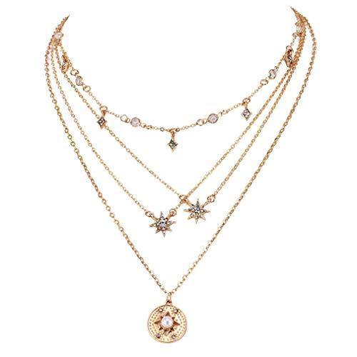 L_shop Mehrschichtige Halskette Star Wafer Delicate Girl Mode-Halskette Fünfzackiger Stern Anhänger Halskette Schmuck Zubehör