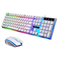 G21 Keyboard Wired USB Gaming Mouse Flexible Polychromatic LED Lights Computer Mechanical Feel Backlit Keyboard Mouse Set,White