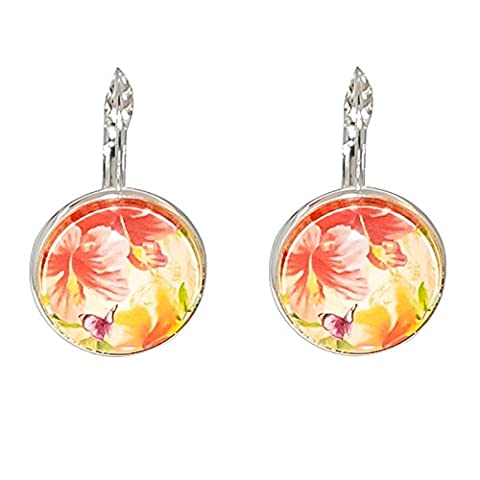 Créative Perles - Boucles d'oreilles Cabochon rond tropicale fleur hibiscus - Orange