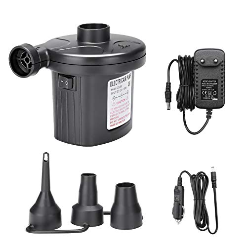 YDO Elektrische Luftpumpe, 2 in 1 Elektropumpe mit 3 Luftdüse, Aufblasen und Abblasen elektrische pumpe für Home Camping Luftmatratzen für aufblasbare Matratze,Boot, Schwimmring, AC 220V / DC 12V