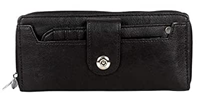Leatherette Women's Wallet with front identity card and multiplle card pockets. Wallet Purse for Girls. (W13201 Black)
