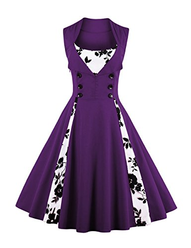 Vkstar® pour femme vintage 1950Bouton inspiré du Swing Robe de soirée Rockabilly Pinup Demoiselle d'honneur robes de cocktail Robe Soirée Robe de fête - - XL