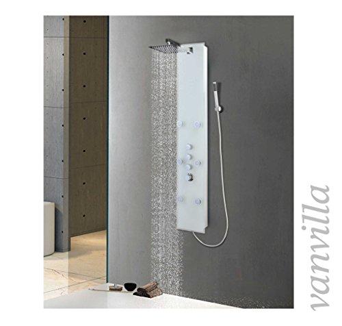 vanvilla Duschpaneel mit Thermostat Glas Weiß Brausepaneel Duschsäule Sonsorol