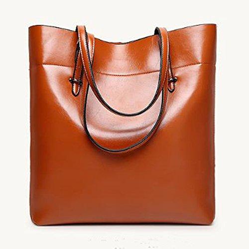 Mode Öl Wachs Pu Leder Schultertasche Für Frauen Dame Casual Handtasche Satchel Tote Bag Multicolor Brown