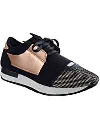 36fa786a3a7 Womens Ladies LACE UP Trainer Bali Runner MESH Stretch Band Fashion Pumps  Size