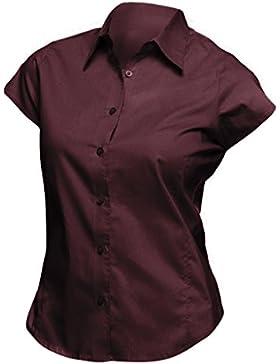 SOLS- Camisa de trabajo entallada Excess de manga corta para mujer