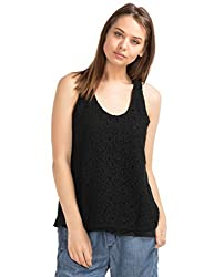 GAP Womens Crochet Lace Scoop Tank (46553820002_True Black_S)