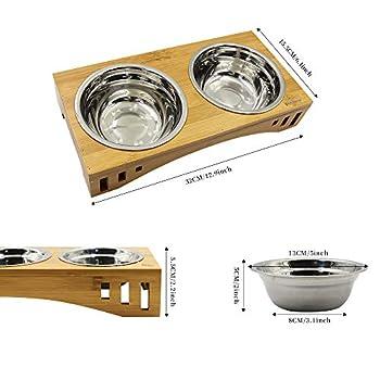 Petilleur Bol Céramique pour Chat et Chien Gamelle Haute pour Chat et Petit Chien avec Support en Bambou (2 Bols, Acier Inoxydable)