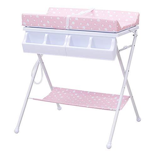 Tables à langer Pliable avec Protection Imperméable en PE, Station De Rangement pour Enfant en Bas Âge avec Garçon (Couleur : Pink)