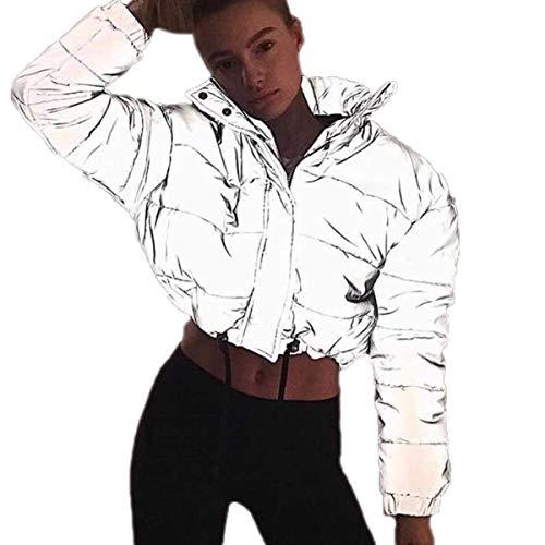 Eghunooye Frauen Sommer Casual Sport Bekleidung Reflektierende 2 Stück Sportjacke Reißverschluss Langarm Crop Top Jacke Mantel und Sport Bodycon Rock Hosen (Jacke B, M)