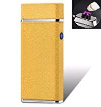 ART IFACT Electronic USB Plasma Lighter - Double Top Arc X Rechargeable Cigarette Lighter - Tesla Coil - (Frost Gold) - With Gift Box