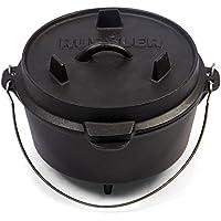 Rustler Dutch Oven Feuertopf, Schmortopf mit passendem Deckel und Edelstahl Henkel, aus Gusseisen, 3,6 Liter, mit Emaille-Beschichtung, 25,4 x 19 cm