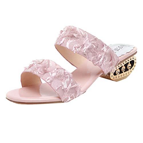 COZOCO Sommer Mode Wilde Sandalen Freizeit Frauen Mitte Ferse Sommer Flip Flop Atmungsaktive Slip-On Peep Toe Sandalen(Pink,40 EU)