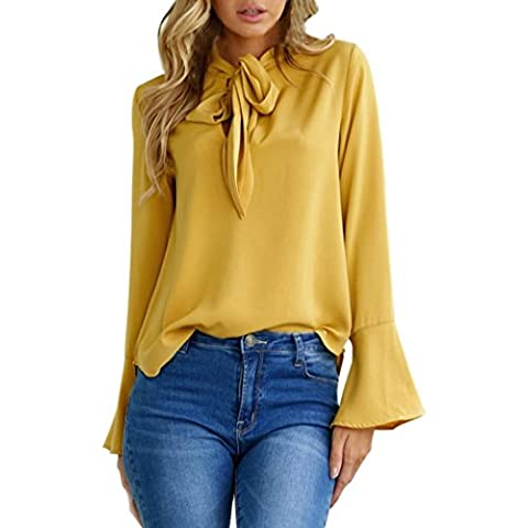DAYLIN 1PC Women Fashion Flare Sleeve V Neck Blouse Casual Tops (M)