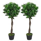 Leaf Par de árboles de Bolas de Laurel Artificiales de 90 cm con Tallo Trenzado, Color Verde