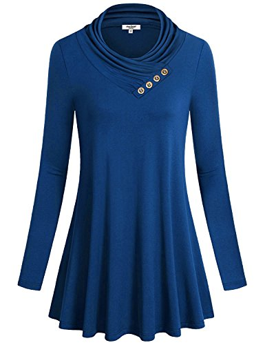 Anna Smith Womens Rollkragenpullover, Womens Front Plissee Baggy T-Shirts Boutique Leichte Super Weicher Madison Jersey Sweater Dress Pullover Loose Plus Size Tunika Blau XL (Plissee-vorhänge 84)
