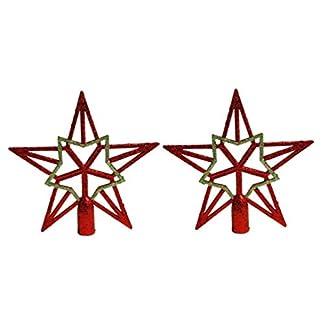 Amosfun-2pcs-Baumspitze-Stern-Weihnachtsbaumspitzen-Stern-Gold-Glitzer-Christbaumspitze-Tannenbaumschmuck-RotGold-ca-19-cm