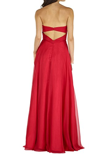 Charmant Damen Rot Elegant Chiffon Perlen Traegerlos Abendkleider Ballkleider Festlich Partykleider Lang A-linie Rock Hell Rosa