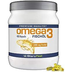 Omega 3 Fischöl-Kapseln 1000mg - Der VERGLEICHSSIEGER 2018* - 400 Stück Hochdosiert - Mit 180mg EPA und 120mg DHA pro Omega-3 Softgel-Kapsel - Ohne Magnesiumstearate von GloryFeel