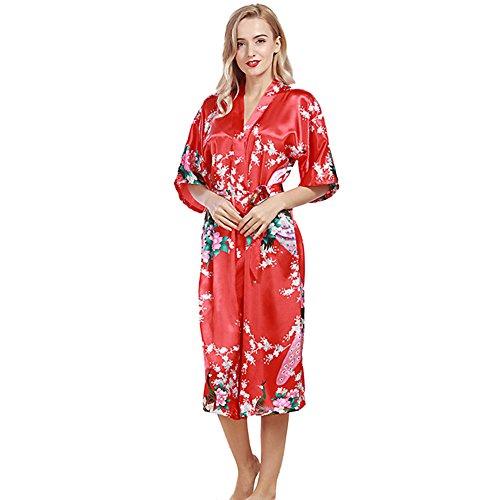 DSJJ Frauen Satin Kimono Robe Spitze Dressing Gown Silk Short Bademantel Nachtwäsche Pyjamas Damen Kurzarm Bademante (Silk-roben Für Frauen Günstige)