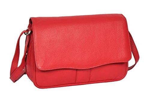 Mesdames Cuir Véritable Rabat Sur Organisateur Corps Croisé Sac Messenger Style Satchel HLG817 Rouge