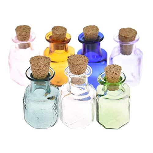 Kesheng 7x Mini Glasfläschchen mit Korken für Ätherisches Öl Parfum Farbig Dekor -