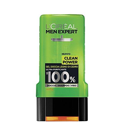 L'Oréal Paris Men Expert Clean Power - Gel Doccia Uomo Legno di Cedro Ultra-Purificante - 300 Ml