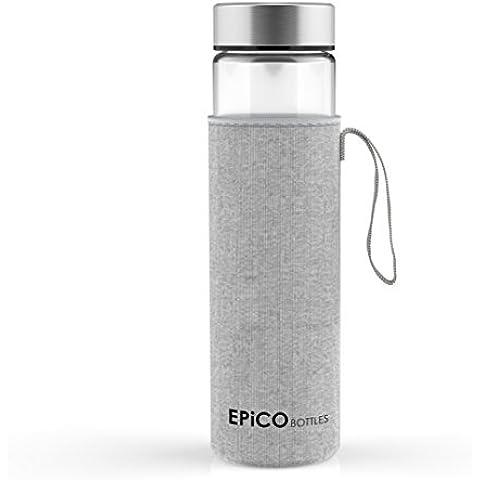 EPiCO BOTTLES Clásica 600ml   Botella de Cristal   Botella de Vidrio Para Agua, Bebidas, Té, Café, Jugos, Zumos   Reutilizable, Portátil   Con Funda   Ideal para Deportes, Yoga, Senderismo   Sin BPA
