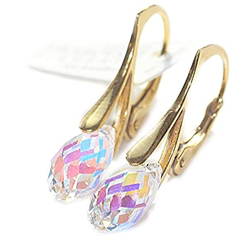 Genuine Crystals From Swarovski® 11mm Briolette Aurore Boreale Pendant Drop Earrings. Vermeil: 24K Gold Over Sterling Silver. Feminine and Fashionable! Stamped 925. 2.6GR Total