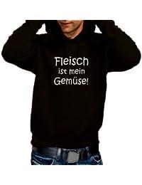 Fleisch ist mein Gemüse - GRILL ! HOODIE - Sweatshirt m. Kapuze Schwarz, Gr.M