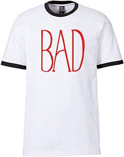 EZYshirt® BAD Herren Rundhals Ringer T-Shirt Weiss/Schwarz/Rot