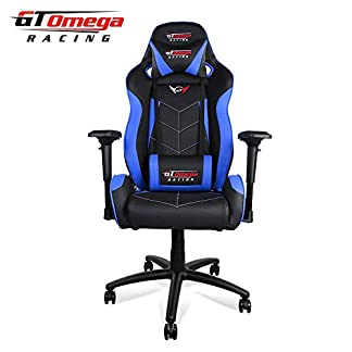 GT OMEGA Elite Racing – Silla de Oficina (Piel), Color Azul