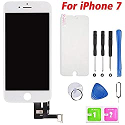 Ecran Tactile LCD pour iPhone 7 Vitre De Remplacement 3D Touche Ecran D'Affichage avec Kit D'Outils Complet De Réparation Blanc (4.7 Pouces)