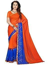 Ishin Poly Chiffon Orange & Purple Bandhani Printed With Lace Party Wear Wedding Wear Casual Wear Festive Wear...
