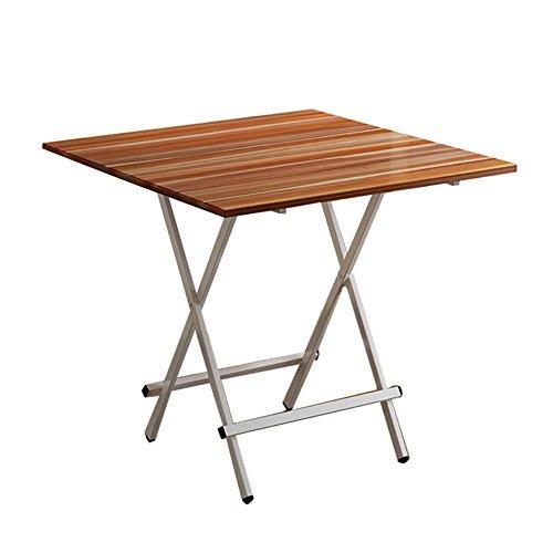 Klapptisch Laptop Schreibtisch Kleine Familie Esstisch, 4 Personen, Outdoor tragbaren Quadratischen Tisch Haushalt (Eisen + Holz) (Größe : 80cm)