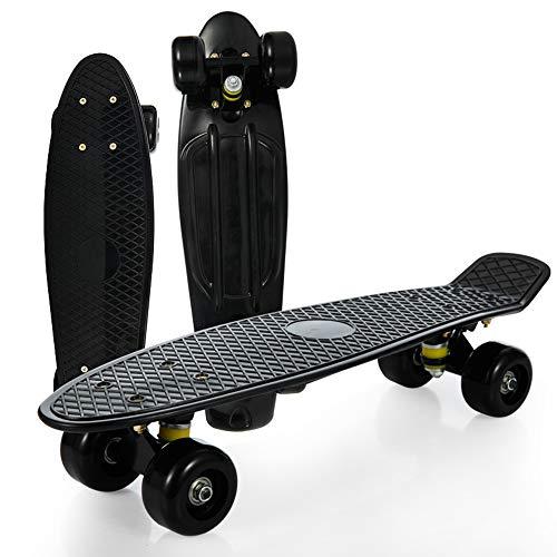 Skateboards Kinder Retro Cruiser Mini Plastik Komplett zusammengebaut - 4 verschleißfeste Räder Designs/mehrere Farben