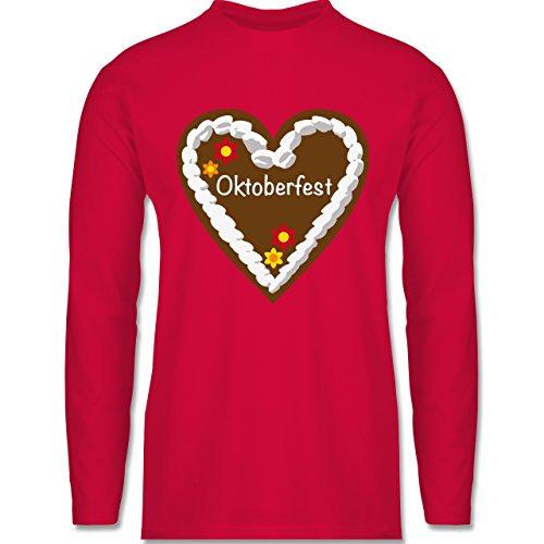 Shirtracer Oktoberfest Herren - Lebkuchenherz Oktoberfest - Herren Langarmshirt Rot