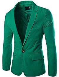 Hombres Manga Larga Chaqueta Blazer Slim Fit 1 Buckle Casual Abrigos Verde L