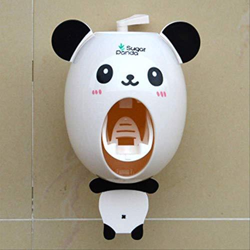 BAXE Badzubehör Praktische Starke Saugsauger lustige Cartoon Stil Badezimmer Haushalt Zahnbürste Halter Kinder automatische Zahnpasta Dispenser weiß -