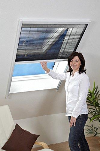 Fliegen-gitter Mücken-schutz Insektenschutz-Dachfenster-Plissee 110 x 160 cm in Weiß