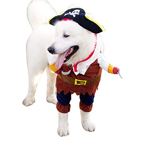 XHPWW Hund Katze Halloween Kostüme Piraten Seemann Stil Hundekleidung, lustige Kapuzen Haustiere Kleiner Hund Anzug (S-L)-S (Seemann Pirat Kostüm)